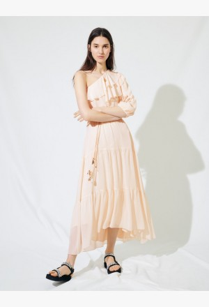 Asymmetrical muslin dress - Hellrosa
