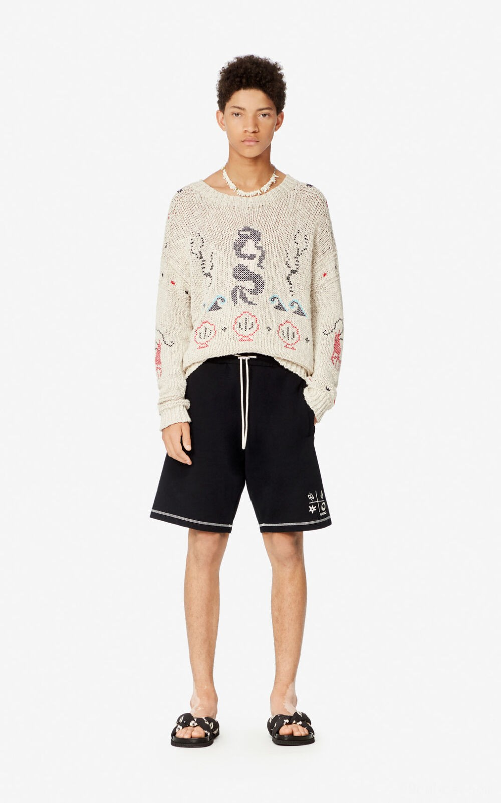 Pullover 'Fisherman' - off white