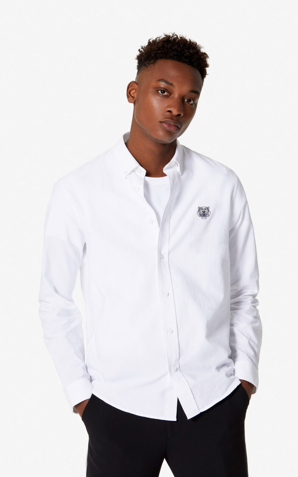 Casual-Hemd Tiger - white